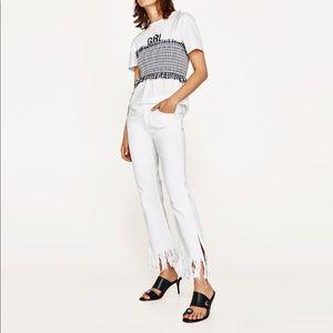 NWT Zara White Frayed Fringe Bottom Flare Jeans